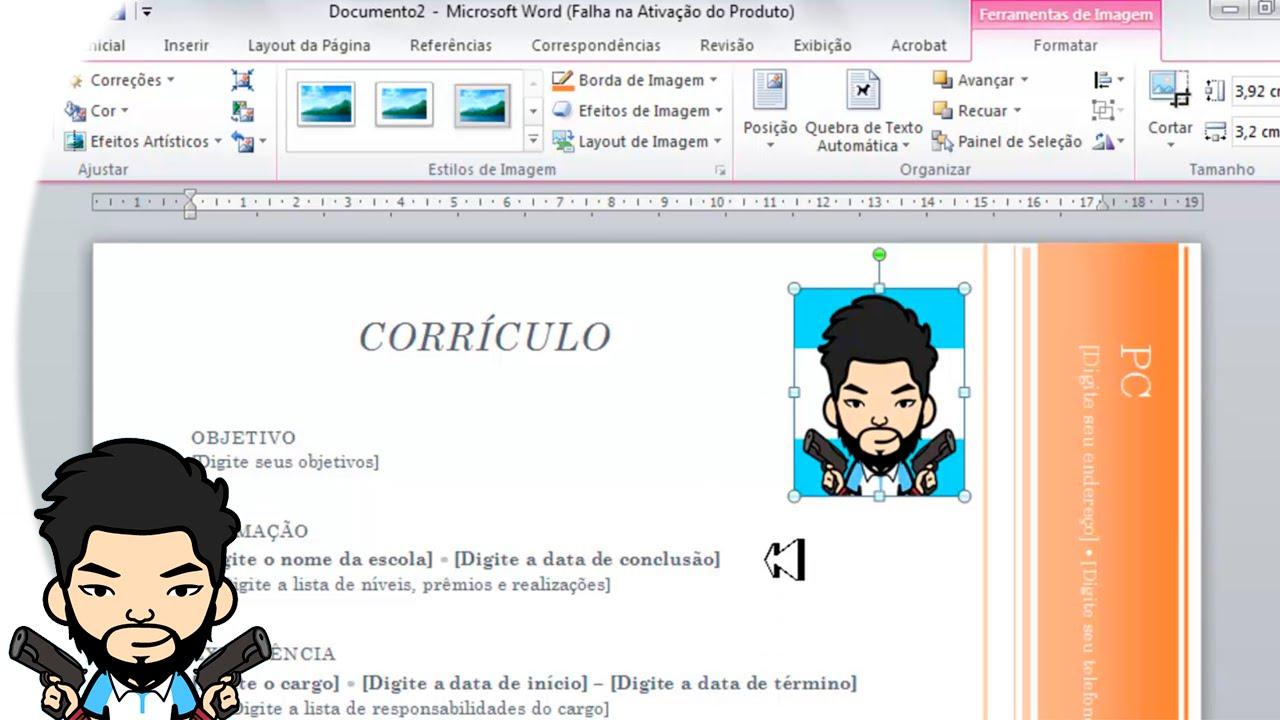 Como fazer um curriculo simples com foto word