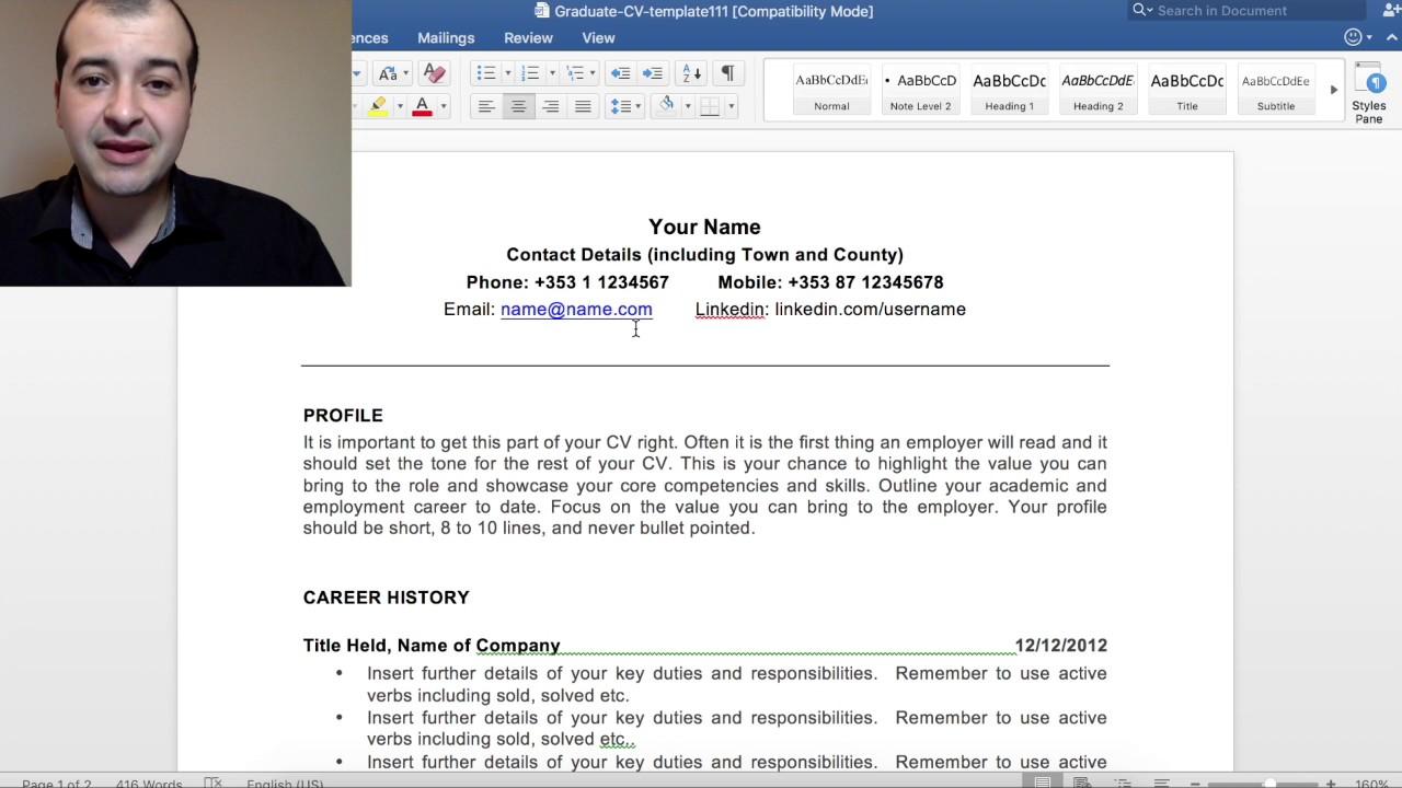 350   Como preparar um currículo perfeito para empregos na Irlanda   Video 1
