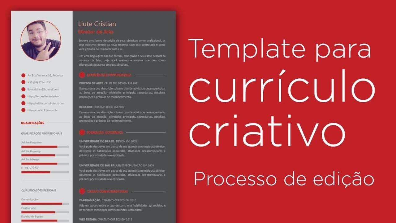 Template para currículo criativo - Processo de edição