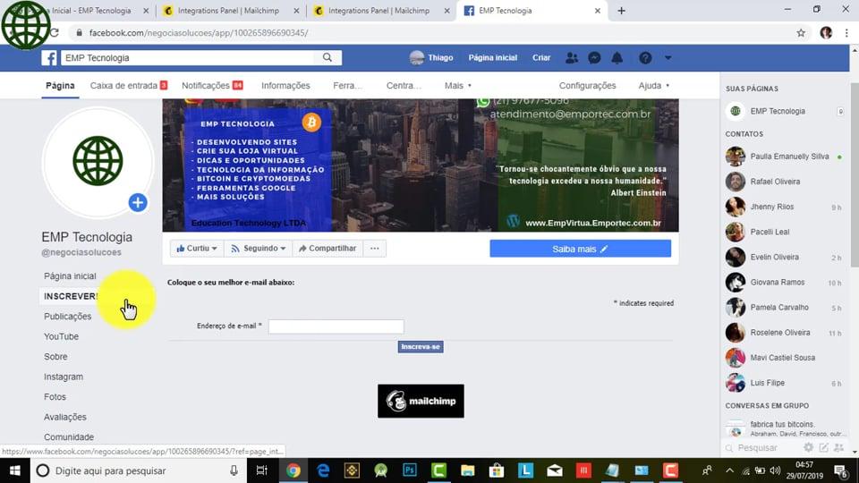 Como integrar o e-mail marketing com o facebook? (Mailchimp+Facebook)