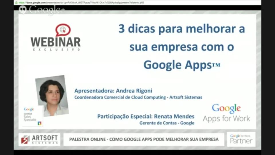 """Webinar Exclusivo: """"3 dicas para melhorar a sua empresa com o Google Apps"""""""